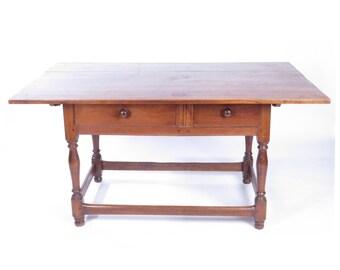 Antique primitive 19th c rustic large wooden stretcher base tavern farm table