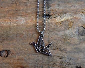 2D silver papercrane origami necklace