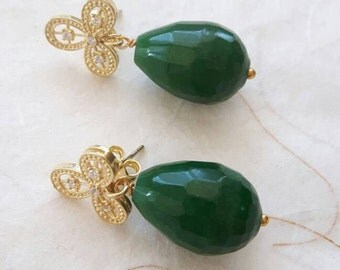 Silver filigree earrings with cubic zirconia and drops green jade