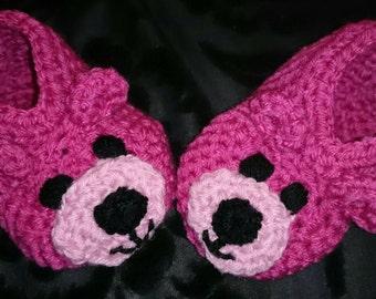 Handmade Crocheted Pink Teddy Bear Slippers / Booties
