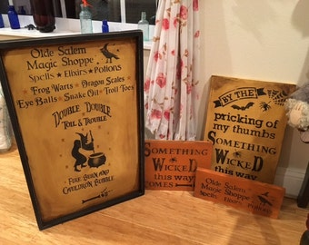 Primitive Vintage Style Halloween Apothecary Magic Shop Witch Crow LARGE Sign