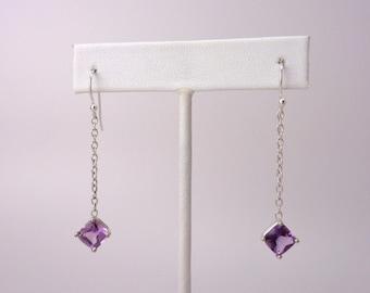 Amethyst Earrings on Sterling Silver Chain