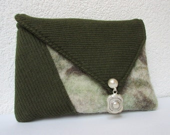 Clutch grey green felt and rib fabric