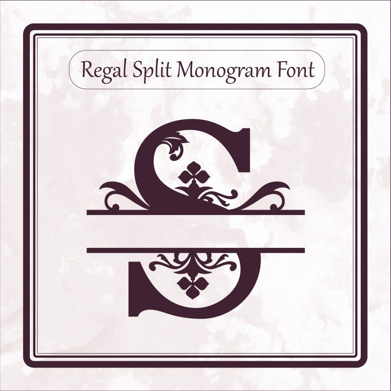 Regal Split Monogram font svg alphabet letters dxf eps png file format, split letters, cricut ...