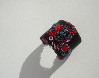 ethnic, black, red Cuff Bracelet