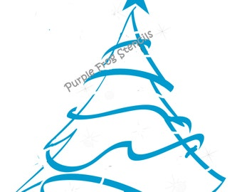 Christmas Tree STENCIL (Reusable) Decorated, Pine Tree, Different Sizes Available