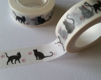 Black Cat with paw prints Washi Tape