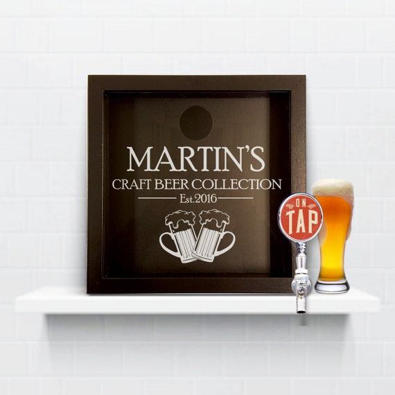 Craft beer box bottle top collection shadow box for Craft beer typography beer cap shadow box beer cap collector