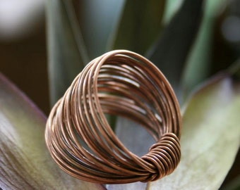 Copper Wire Ring. Modern. Earthy. Wide Ring.