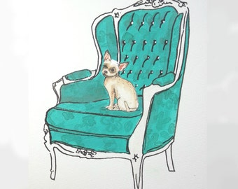 Chihuahua on Luxury Chair: Limited Edition Digital Print on A4 fine art paper