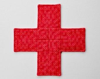 Red cross potholder. Quilted fabric cross trivet. Housewarming gift. Christmas gift. Heatproof tableware.
