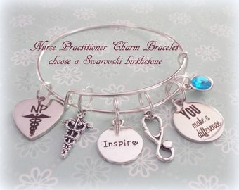 Nurse Practitioner Gift, Nurse Practitioner Graduation Gift, Personalized Jewelry, Personalized Gift, Birthstone Jewelry, Gift for Nurse