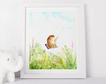 Hedgehog on Swing Art Print, Children's Wall Art, Print, Green, Nursery Art, Animal Art, Kid's Wall Art, Animal Print
