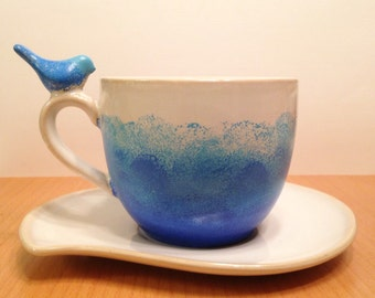 Blue Ombre Bird Tea Cup Mug and Saucer