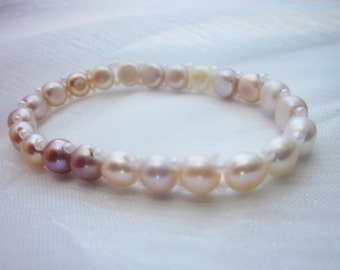 Beautiful, Freshwater Pearl Bracelet, 7.5 inches, Multi-colored