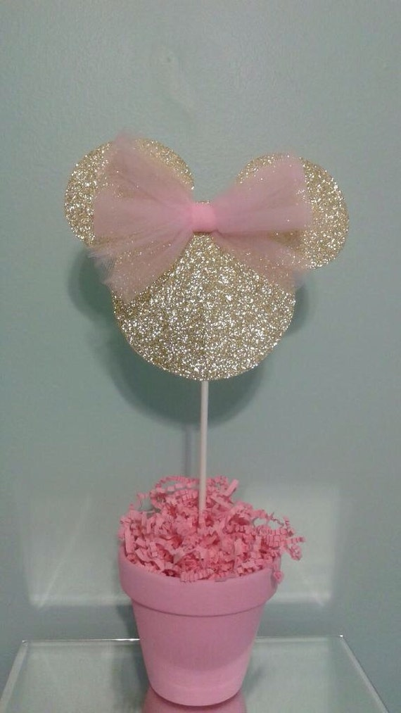 Minnie Mouse Centerpiece Gold And Pink : Minnie mouse centerpiece pink and gold