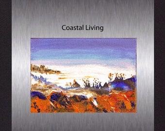 Coastal Living - Original Abstract Art. Colourful Modern Seascape. Hand Painted not a print.