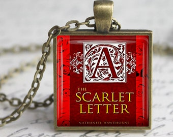 The Scarlett Letter  Book Necklace Literary Gifts Literary Necklace Literature Gifts  Book Lover Gift for Teacher Book keyfob Book keychain