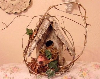 Fairy Garden Handmade Shabby Enchanted Cottage Birdhouse By Willow Bloome