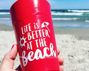 "Decal ""Life is better at the beach"" to paste on coffee mug, glasses, mason jar, etc."