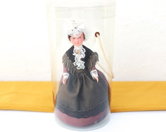 French vintage 1960s art doll, celluloid folk doll in its original plastic box, collectible Doll in Regional Costume Dress France