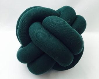 Bottle Green Macrame Knot Cushion Pillow