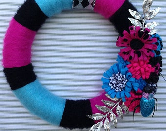 Bug Wreath, Beatle Wreath, Yarn Wreath, Striped Yarn Wreath, Pink Yarn Wreath, Blue Yarn Wreath, Black Yarn Wreath, Flower Yarn Wreath