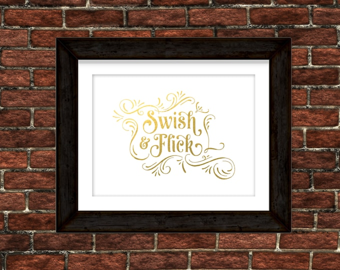 "Harry Potter - ""Swish and Flick"" - Real Gold Foil Print"