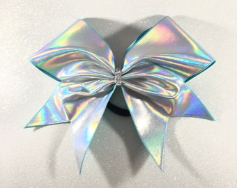Holographic Silver Cheer Bow // Holo Cheer Bow // Plain Cheer Bows // Bling Cheer Bows // Cheerbows // Team Cheer Bows // Softball Bows