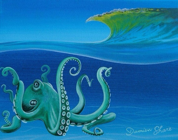 Items similar to surfing octopus 8x10 print florida for Florida tropical fish