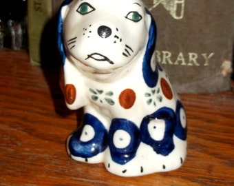 Porcelain miniture Wally Dog  c 1930/40s Ornament/Mantle/Statue/Figurine Delightful Face Hand Painted