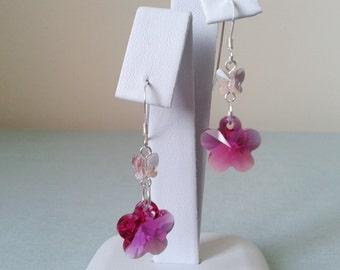 Pink Flower and Butterfly Swarovski Crystal Drop Sterling Silver Earrings
