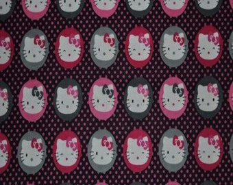 Hello Kitty On Dots Flannel Fabric (By The Yard)