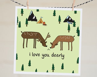 I Love You Deerly Card   Funny Valentine's Day Card For Husband   Funny I Love You Card For Boyfriend   Anniversary Card For Wife   Pun Card