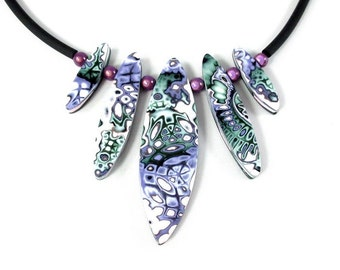 Purple and green polymer clay necklace