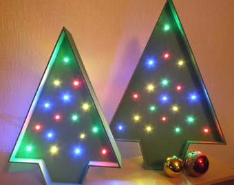Christmas tree marquee light. Medium size. Battery powered LEDs.