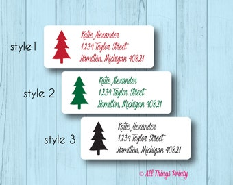 Christmas Tree Address Labels - Custom Personalized Seasonal Mailing Labels - Matte White, Kraft, or Clear Gloss - 3 Different Styles