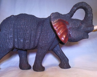 Solid Mahogony Hand Crafted Elephant (Made in Africa)