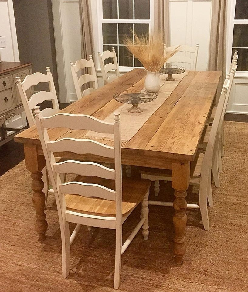 Distressed Farmhouse Living Room: Distressed Reclaimed Farmhouse Dining Table