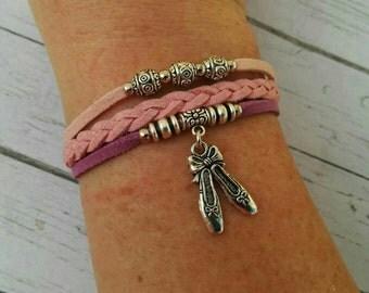 Ballet Charm Bracelet for Girls// Ballerina Bracelet// Pink & Purple Multi Strand Ballet Slippers Bracelet// Ballet Gift// Choose One Charm