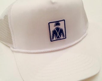 Southern Gallop White Trucker Hat.  Rope Hat.  Southern Gallop Patch logo