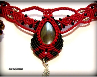 vintage hematite macrame handmade necklace,bohemian fashion,fairy magical macrame neckpiece hematite