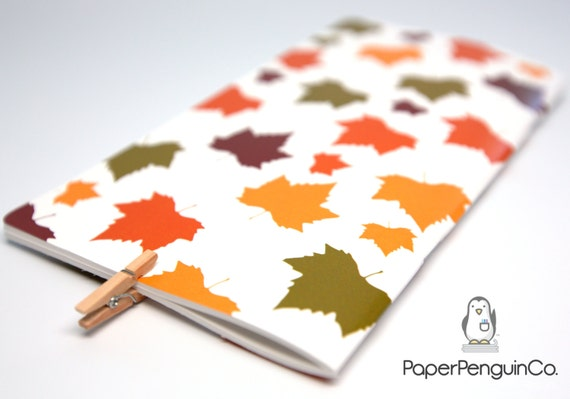 Midori Insert Fall Leaves MTN Travelers Notebook Regular Wide A5 B6 Personal A6 Pocket Field Notes Passport / Grid Dots Lined/Bullet Journal