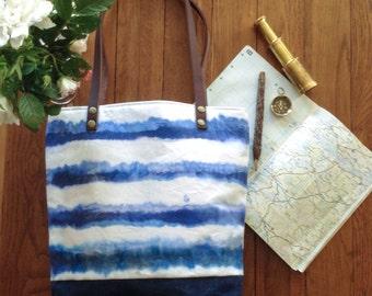 Waxed canvas bag, Tote Bag, hand painted bag, wax bag, handbag, waxed bag, wax canvas bag, everyday bag, wax tote, organic canvas, denim.