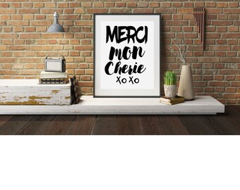 "Typography A4 Poster, Print on Paper ""Merci Mon Cherie""  Quotes,  Modern Wall Art, Home Decor Unframed"