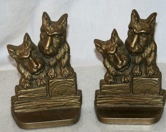 Handsome Pair of Scotty Dog Cast Iron Book Ends Art Deco Period circa early 1900s A Wonderful Find!!!