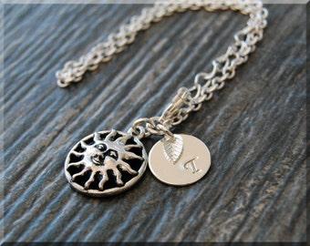 Silver Sun Bracelet, Initial Charm Bracelet, Personalized Bracelet, Smiling Sun Charm, Layering Bracelet, Celestial Initial Charm Bracelet