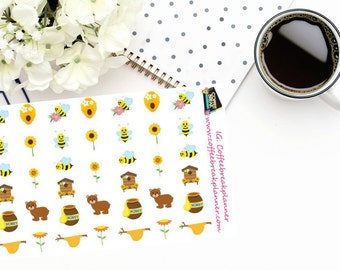 Planner Stickers |Honey Bees and Bears| Honey Bee Stickers| Bear Stickers|Honey Stickers|Spring Stickers|Flower Stickers| DBEE01
