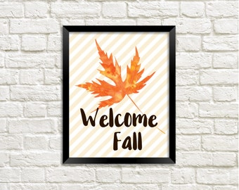 Fall Leaves Printable Art Print, Watercolor Fall Leaf, Autumn Leaf Print, Fall Printable, Home Decor, Download, Welcome Fall