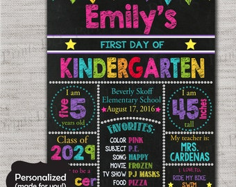 First Day of School Sign,First Day of School Chalkboard Printable Sign,Any Size ANY GRADE,Personalized First day of School Sign,Pink